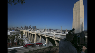 Demolition of famous LA bridge ahead of schedule