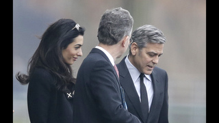 George and Amal Clooney meet Merkel to discuss refugees