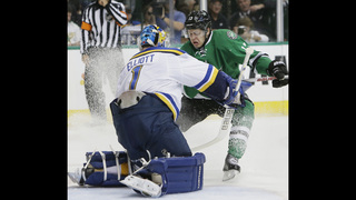 Faksa has goal and assist, Stars beat Blues 2-1 in Game 1