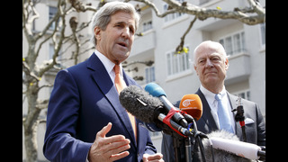 The Latest: Kerry says work underway to restore Syria truce
