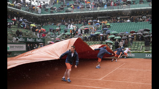 The Latest: Play delayed by rain at French Open