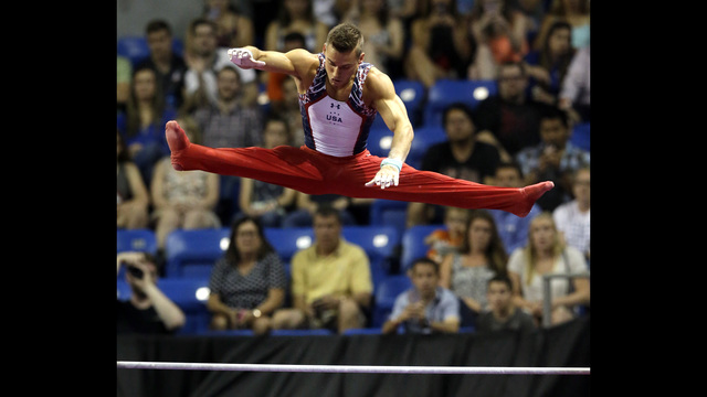 Alex Naddour leads on pommel horse at Olympic Gym Trials
