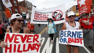 The Latest: Pro-Sanders sit-in, protests quieting near arena