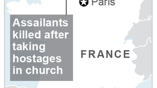 The Latest: Hollande suspects IS in church attack