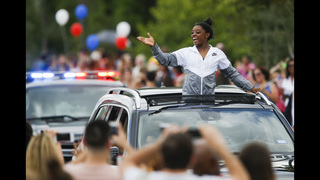 Olympic gold medalist Simone Biles welcomed home to Texas