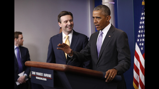 Obama praises outgoing press secretary for