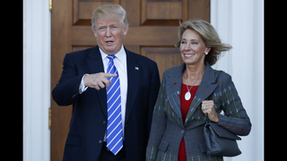 The Latest: Lieberman returns to Senate to recommend DeVos