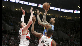 Blazers beat Nuggets to take 1-game lead for 8th seed