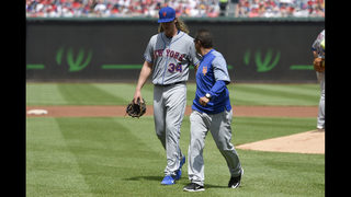 Syndergaard exits in second inning with apparent injury