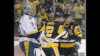 The Latest: Pittsburgh holds off Predators in Game 1