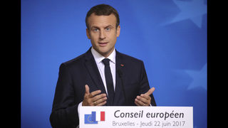 The Latest: French president meets central European leaders