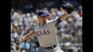 Worth the wait: Bibens-Dirkx pitches Rangers past Yanks 8-1