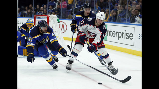 Allen, Upshall lead Blues to 4-1 win over Blue Jackets | Boston 25 ...