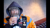 """I hate it,"" Paul Frey said about the incoming storm as he sips coffee to warm up before walking home from Hannaford supermarket in Auburn, Maine, on Wednesday, March 7, 2018. ""I'm going to be stuck in the house the whole day,"" Frey said the storm that is expected to bring over a foot of snow to the area. (Daryn Slover/Sun Journal via AP)"