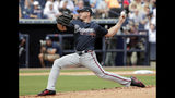 FILE - In this March 2, 2018, file photo, Atlanta Braves starting pitcher Scott Kazmir delivers during the first inning of a baseball spring exhibition game against the New York Yankees, in Tampa, Fla. Kazmir is trying to revive his career after missing all of last season, and he might've come to the right place. (AP Photo/Lynne Sladky, File)