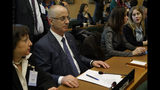 Palestinian Prime Minister Rami Hamdallah attends a United Nations Relief and Works Agency for Palestine Refugees in the Near East, UNRWA, conference, in Rome, Thursday, March 15, 2018. (AP Photo/Andrew Medichini)