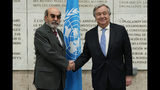 FAO, United Nations Food and Agriculture Oranization, Director General Graziano Da Silva, left, shakes hands with UN Secretary General Antonio Guterres as he arrives to attend a United Nations Relief and Works Agency for Palestine Refugees in the Near East, UNRWA, conference, in Rome, Thursday, March 15, 2018. (AP Photo/Andrew Medichini)