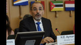 Jordan's Foreign Minister Ayman Safadi delivers his speech during a United Nations Relief and Works Agency for Palestine Refugees in the Near East, UNRWA, conference, in Rome, Thursday, March 15, 2018. The United Nations says a donor conference has produced nearly $100 million in new pledges to fund the U.N. relief agency for Palestinian refugees this year after the U.S. slashed its aid. (AP Photo/Andrew Medichini)