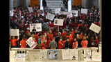 Teachers from across Kentucky stand at the base of the steps leading to the Kentucky State Senate chamber as they rally for increased funding and to protest last minute changes to their state funded pension system, Monday, April 2, 2018, in Frankfort, Ky. (AP Photo/Timothy D. Easley)