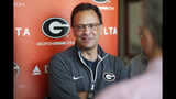 Georgia coach Tom Crean speaks with the media during an NCAA college basketball press conference in Athens, Ga., Tuesday, April 10, 2018. (Joshua L. Jones/Athens Banner-Herald via AP)