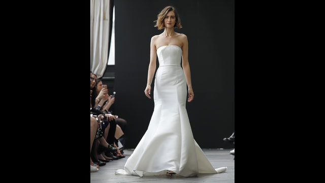 78711e603a0 Bridal fashion from the Amsale collection is modeled during Bridal Fashion  Week