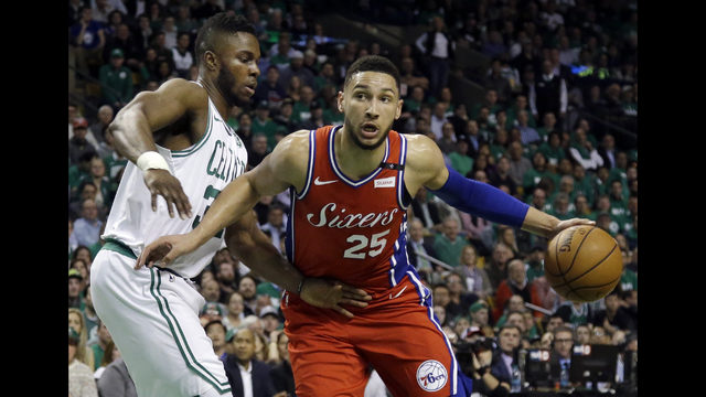 ea3fb0967 Philadelphia 76ers guard Ben Simmons (25) drives against Boston Celtics  forward Semi Ojeleye (37) in the first quarter of Game 1 of an NBA  basketball ...