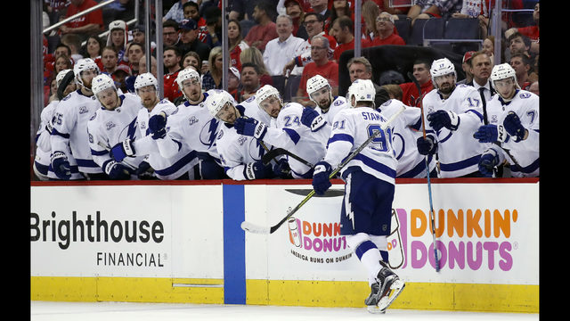 095e51d6972 Tampa Bay Lightning center Steven Stamkos (91) celebrates his goal with his  teammates during the first period of Game 3 of the NHL Eastern Conference  finals ...