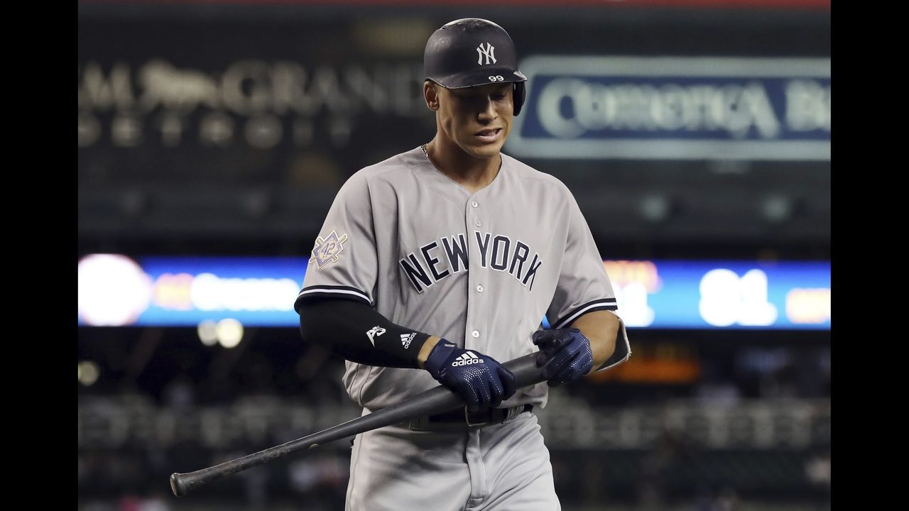 63d1491b6cd Judge sets doubleheader K record as Yanks and Tigers split