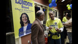 Supporters of San Francisco mayoral candidate London Breed chat at an election night party Tuesday, June 5, 2018, in San Francisco.(AP Photo/Marcio Jose Sanchez)