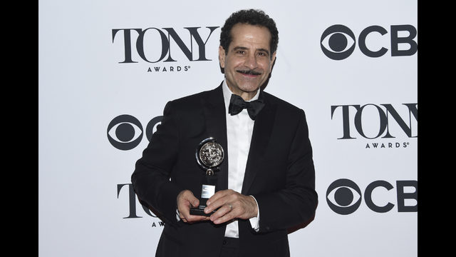 Tony Shalhoub Poses In The Press Room With Award For Leading Actor A Musical Bands Visit At 72nd Annual Awards Radio City