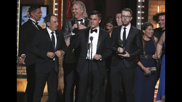 Ken Davenport Center And The Cast Crew Of Once On This Island Accept Award For Best Musical Revival At 72nd Annual Tony Awards Radio City