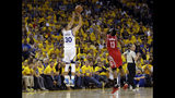 FILE - In this April 16, 2016, file photo, Golden State Warriors' Stephen Curry (30) makes a 3-point basket over Houston Rockets' James Harden (13) during the first half in Game 1 of a first-round NBA basketball playoff series in Oakland, Calif. Curry was a No. 7 pick in the NBA draft. (AP Photo/Marcio Jose Sanchez, File)