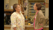 In this image released by ABC, Roseanne Barr, left, and Laurie Metcalf appear in a scene from the reboot of the popular comedy series