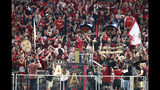 Atlanta United fans fill Mercedes-Benz Stadium as former boxer heavyweight Evander Holyfield hammers the gold spike at the start of an MLS soccer match between the United and Orlando City on Saturday, June 30, 2018, in Atlanta. (Curtis Compton/Atlanta Journal-Constitution via AP)