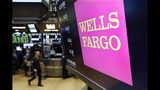 FILE- In this May 17, 2018, file photo, the logo for Wells Fargo appears above a trading post on the floor of the New York Stock Exchange. Wells Fargo reports earnings Friday, July 13, 2018. (AP Photo/Richard Drew, File)
