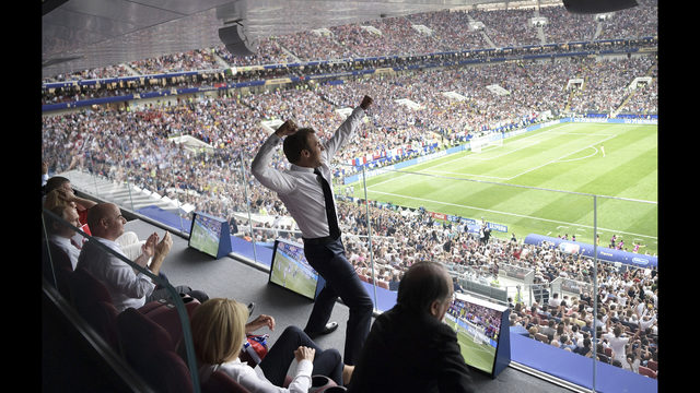 74f04d736 French President Emmanuel Macron reacts during the final match between  France and Croatia at the 2018 soccer World Cup in the Luzhniki Stadium in  Moscow