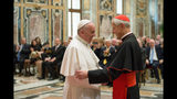 FILE - In this Wednesday, Oct. 20, 2010 file photo, Pope Francis, left, talks with Papal Foundation Chairman Cardinal Donald Wuerl, Archbishop of Washinghton, D.C., during a meeting with members of the Papal Foundation at the Vatican. On Tuesday, Aug. 15, 2018, a Pennsylvania grand jury accused Cardinal Wuerl of helping to protect abusive priests when he was Pittsburgh's bishop. (L'Osservatore Romano/Pool Photo via AP)
