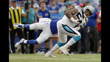File-This Aug. 9, 2018, file photo shows Carolina Panthers linebacker Shaq Thompson, right, eluding Buffalo Bills wide receiver Rod Streater while returning an interception during the first half of an NFL football game in Orchard Park, N.Y. Thompson has been groomed for the past three seasons to take over for Thomas Davis at weakside linebacker and he will get his shot in the first four games with Davis suspended for testing positive for a banned substance. Nobody has had a better preseason for the Panthers than Thompson, who appears ready for a breakout season. (AP Photo/Adrian Kraus, File)