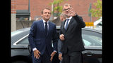 French President Emmanuel Macron, left, meets with Finland Prime Minister Juha Sipila at the Aalto University in Espoo, Finland, Thursday Aug. 30, 2018. President Macron is in Finland on a two-day official visit. (Mikko Stig/Lehtikuva via AP)
