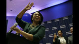 Boston City Councilor Ayanna Pressley celebrates victory over U.S. Rep. Michael Capuano, D-Mass., in the 7th Congressional House Democratic primary, Tuesday, Sept. 4, 2018, in Boston. (AP Photo/Steven Senne)