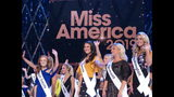 Contestants wave to the audience during introductions at the second night of preliminary competition at the Miss America competition in Atlantic City N.J on Thursday Sept. 6, 2018. (AP Photo/Wayne Parry)