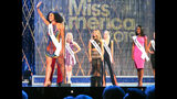 Mikhayla Hughes-Shaw, Miss Iowa, introduces herself during the second night of preliminary competition in the Miss America competition in Atlantic City N.J. on Thursday Sept. 6, 2018. (AP Photo/Wayne Parry)