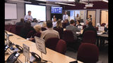 Governor Roy Cooper talks to emergency personnel local officials and members of the media about the ongoing Hurricane Florence preparation efforts in the Emergency Operations Center at the New Hanover County Administration Building In Wilmington, N.C. Sept. 10, 2018. Hurricane Florence now a category 3 hurricane is expected to make land fall somewhere along the North Carolina coastline towards the end of the week. (Ken Blevins /The Star-News via AP)