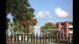 In this photo released by the U.S. Marine Corps, recruits at Marine Corps Recruit Depot Parris Island prepare to evacuate following an evacuation order directed by Brig. Gen. James Glynn, the depot's commanding general ahead of hurricane Florence. All Marines at the depot who are currently in recruit training will be transported to the base in Georgia. (Sgt. Dana Beesley/U.S. Marine Corps via AP)