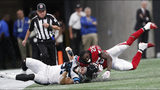 Atlanta Falcons running back Tevin Coleman (26) his hit by Carolina Panthers linebacker David Mayo (55) during the second half of an NFL football game, Sunday, Sept. 16, 2018, in Atlanta. (AP Photo/John Bazemore)