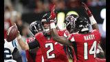 Atlanta Falcons quarterback Matt Ryan (2) celebrates his touchdown against the Carolina Panthers during the second half of an NFL football game, Sunday, Sept. 16, 2018, in Atlanta. (AP Photo/John Bazemore)