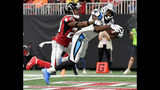 Carolina Panthers wide receiver Torrey Smith (11) makes a touchdown catch against Atlanta Falcons defensive back Robert Alford (23) during the second half of an NFL football game, Sunday, Sept. 16, 2018, in Atlanta. (AP Photo/John Amis)