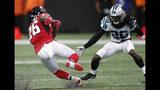 Atlanta Falcons running back Tevin Coleman (26) runs against Carolina Panthers cornerback Donte Jackson (26) during the first half of an NFL football game, Sunday, Sept. 16, 2018, in Atlanta. (AP Photo/John Bazemore)