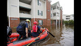 Rescue personnel paddle through a flooded apartment complex to evacuate residents as flooding continues in the aftermath of Hurricane Florence in Spring Lake, N.C., Monday, Sept. 17, 2018. (AP Photo/David Goldman)