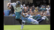 Jacksonville Jaguars quarterback Blake Bortles (5) is sacked by Tennessee Titans linebacker Wesley Woodyard during the first half of an NFL football game, Sunday, Sept. 23, 2018, in Jacksonville, Fla. (AP Photo/Phelan M. Ebenhack)